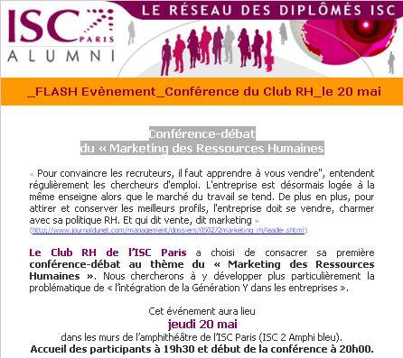 """Conférence-débat 20/05/2010 ISC Paris : """"Marketing des Ressources Humaines"""""""