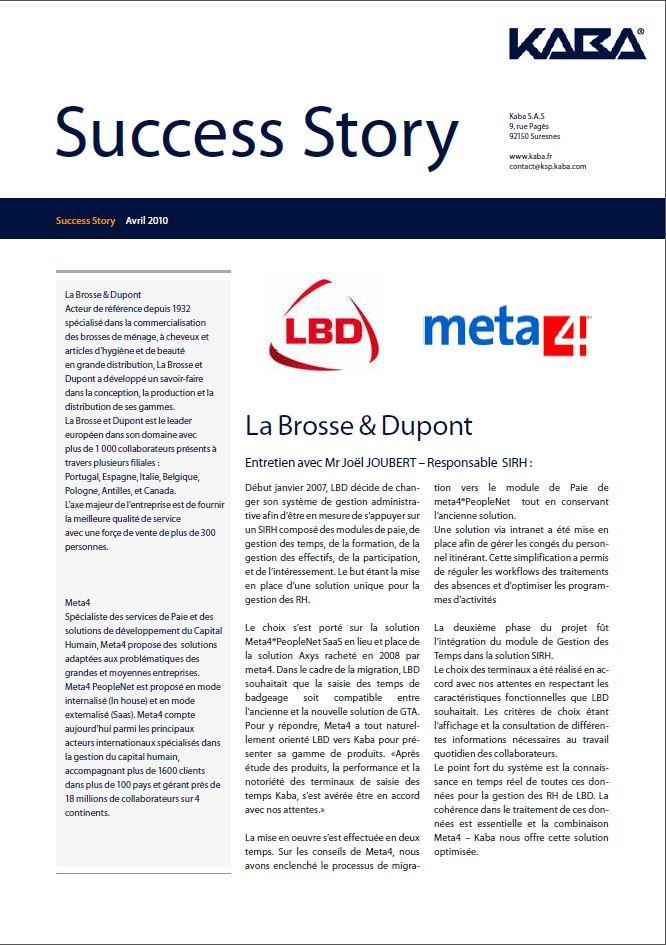 Success Story : La Brosse et Dupont recommande l'association des solutions Kaba et meta4®PeopleNet