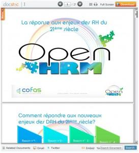 Téléchargez la présentation de Open HRM (PDF 26p 4.5Mo)