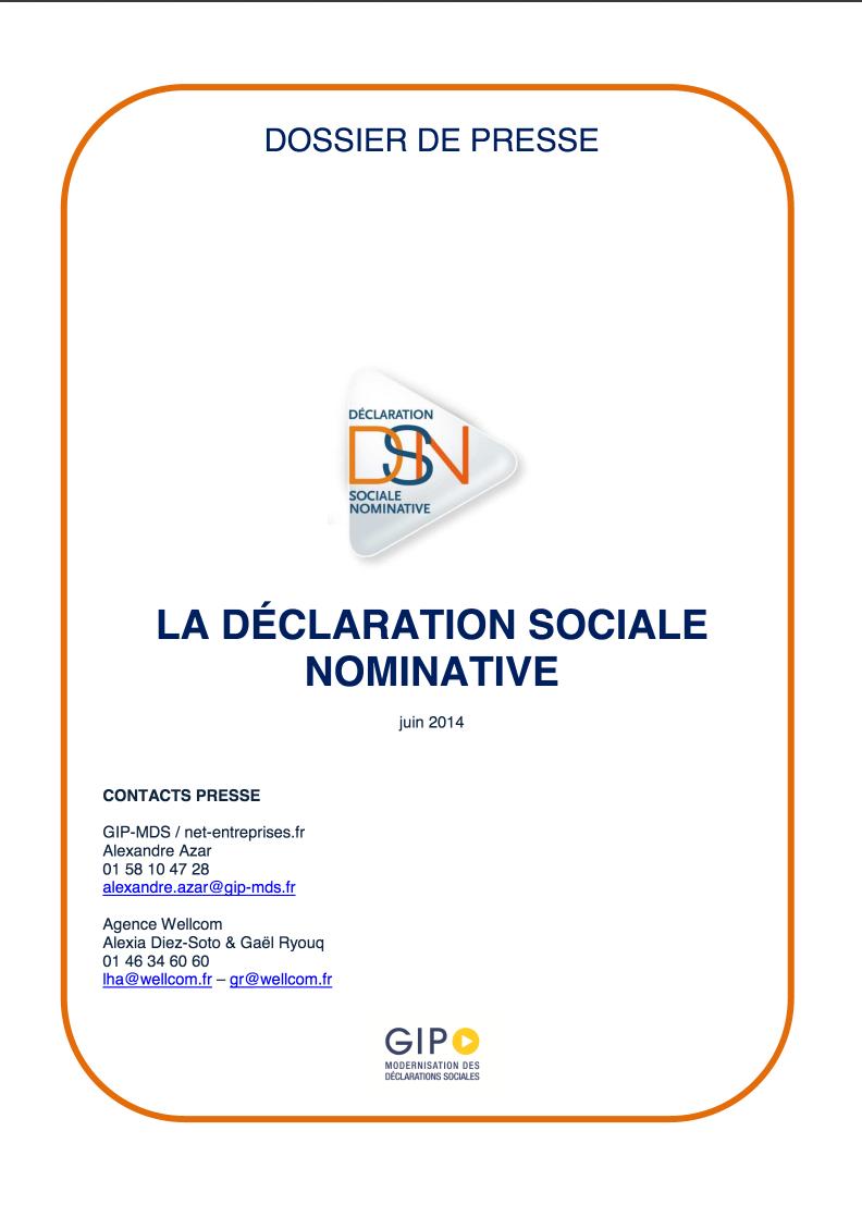 Dossier de presse de la déclaration sociale nominative, la #DSN par @DSN_infos http://ow.ly/zDexy PDF 10 pages