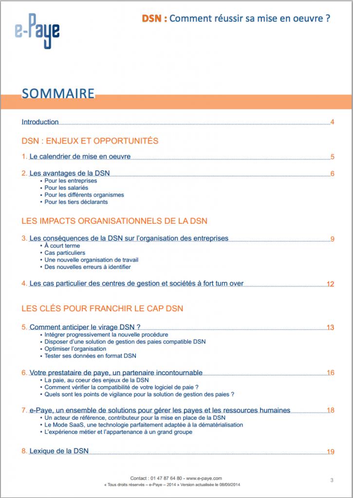 Sommaire livre blanc DSN d'e-Paye