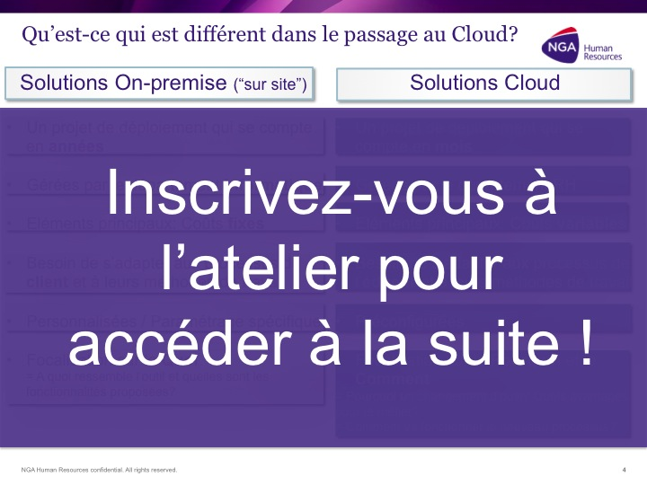Atelier transition vers le Cloud RH